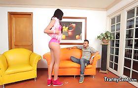 Skinny tranny fucks dude in the ass