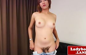 Amateur ladyboy posing and pulling cock