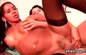 Busty tgirls gangbanging and taking jizz shots