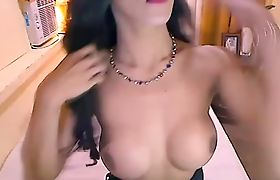 Cute Shemale Babe Plays with her Big Cock