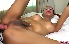 Ladyboy Benz with big tits gets her asshole pounded in be