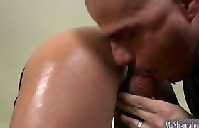 Busty shemale Nicole Bahls with big tits fucking a bald dude