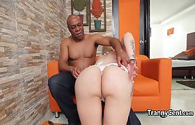White bikini tgirl fucks black cock