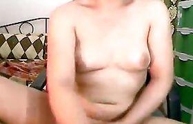 Big Tit Tranny Jerking her Cock