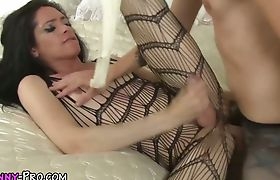 Tranny cums on kinky dude