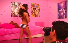 Skinny TS Madison Montag asshole ripped after giving a BJ