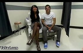 Bound guy to a bed throat fucked by tranny in a private clinic