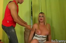 Blonde Tgirl suck cock while jerking off then anal fucked