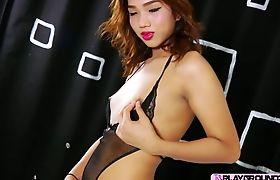 Playful slutty Asian ladyboy Fiat in an intense solo show