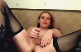 Gorgeous Transexual Strokes Her Stiff Cock
