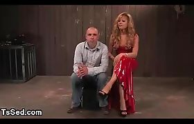 Blonde tranny Johanna B made guy to suck her cock