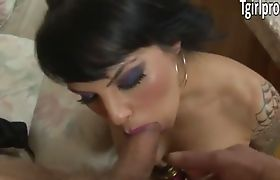 Tattooed TS Foxxy gives blowjob and gets her asshole banged