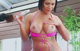 Big tits tranny Sabrina Suzuki fucking a fleshlight toy