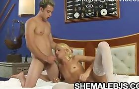 Blonde shemale Dany De Castro gagging on throbbing cock