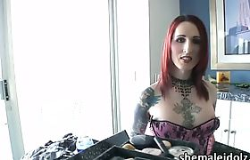 Red head tranny Brittany loves sex toys