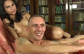Beautiful tranny twist and turn balls to tied up guy