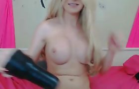 Busty Tranny Jerks and Cums on her Face