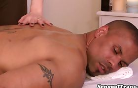 Tgirl masseuse sucked and fucked by ebony guy