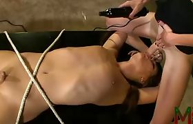 TS Mandy Mitchell gagging Ashley George with her hard cock