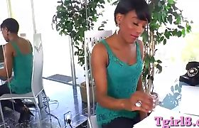 Horny Short hair black shemale wank off her big black cock