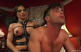 TS Foxxy is a lady of the night fucking al the straight men with her raging hard cock!