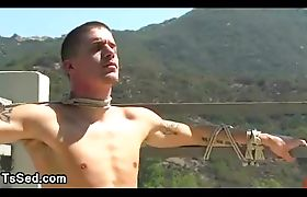 Tranny suck dick to tied up tattooed guy in bedroom