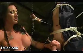 Tied up guy gets cock sucked by tranny with huge dick