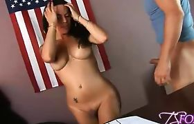 Sexy brunette tgirl getting sucked in the office