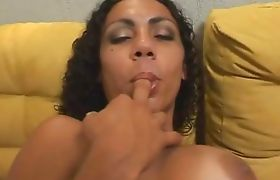Sexy brunette latina shemale tugging on her dick