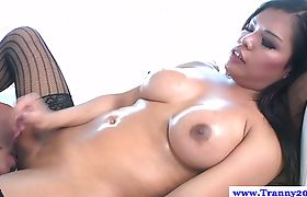 Ladyboy Carmen Moore makes him cum