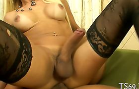 Tranny girl with big tits gets nailed