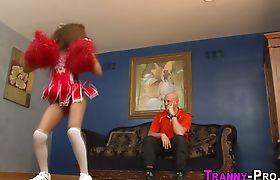 Ladyboy takes cumshot