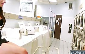 Busty shemale Madison Montag ass nailed in laundry shop