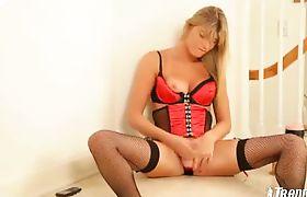 Horny Shemale Home Alone Masturbating