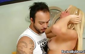 Big breasted tranny rams her dick in guys asshole