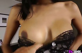 Ladyboy solo toys her ass
