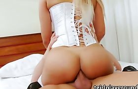 Transgirl babe Nicole Bahls rides a hard cock in wild anal sex
