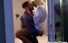 Rimmed tranny sucked and fucked by her man