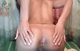 Cute Shemale Jerking her Hard Cock