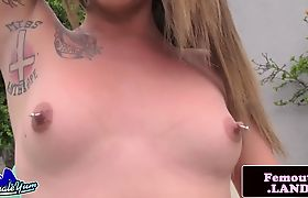 Nipple pierced amateur tgirl solo outdoors