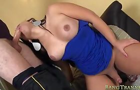 Busty TS Fernanda Castro deeply ass fucked and facialed