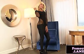 Ebony femboy jerking on loveknob