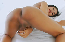 Sexy shemale Manow teasing on cam and masturbates her dick