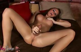 Irresistible Ashley George stroking off her juicy dick