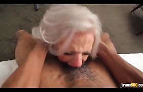 Blonde tranny rammed by big black dick