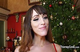 Naughty santa fucking shemale hole