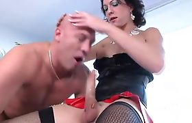 Shemale rimjob leads to blowjob for eager male as he is bent over