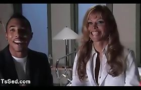 Guy bound in hospital fucked by tranny