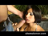 Shemale deep throat blowjob