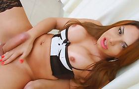 Huge titted Agatha Menezes shemale masturbates her cock